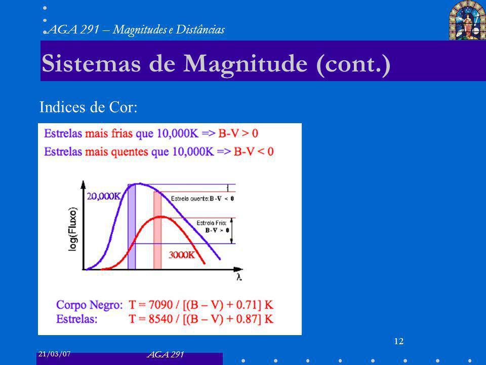 21/03/07 AGA 291 AGA 291 – Magnitudes e Distâncias 12 Sistemas de Magnitude (cont.) Indices de Cor: