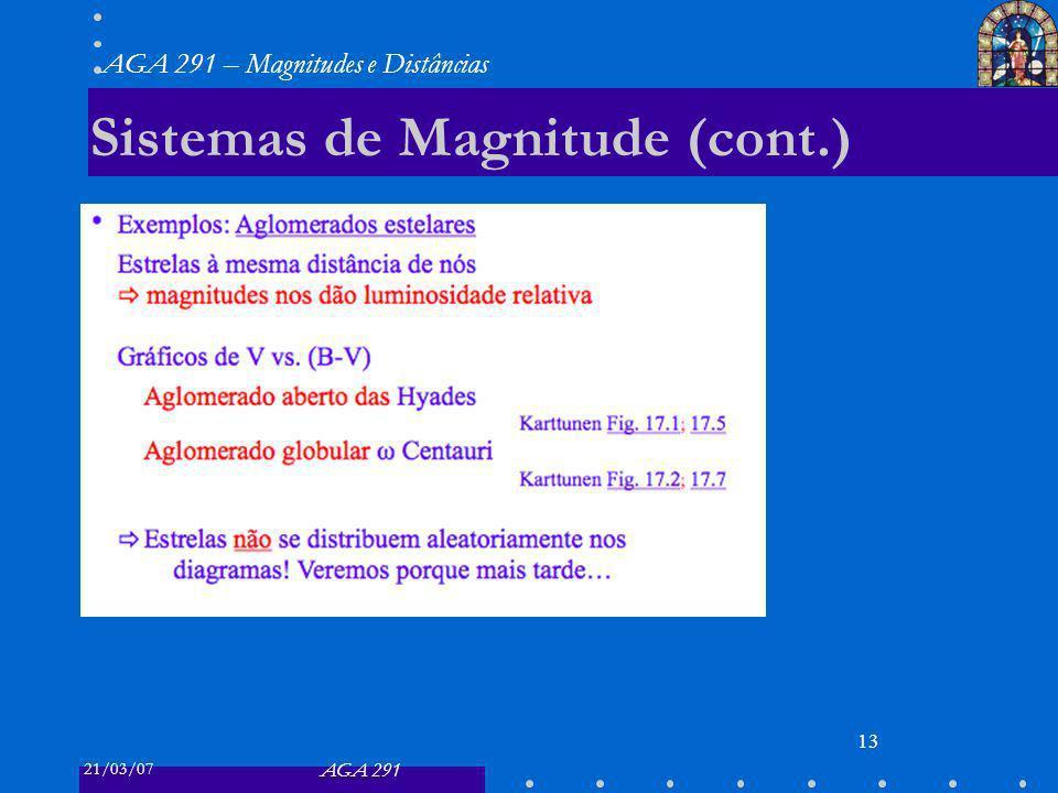 21/03/07 AGA 291 AGA 291 – Magnitudes e Distâncias 13 Sistemas de Magnitude (cont.)
