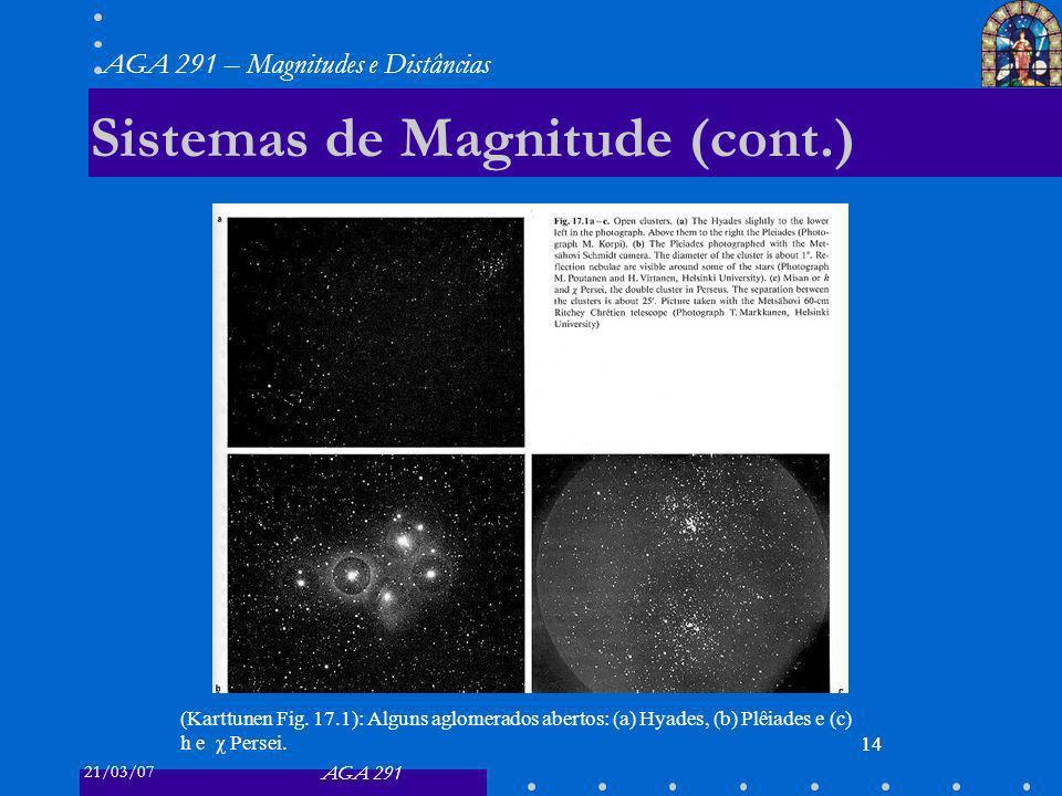 21/03/07 AGA 291 AGA 291 – Magnitudes e Distâncias 14 Sistemas de Magnitude (cont.) 14 (Karttunen Fig.
