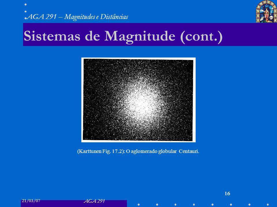 21/03/07 AGA 291 AGA 291 – Magnitudes e Distâncias 16 Sistemas de Magnitude (cont.) 16 (Karttunen Fig.