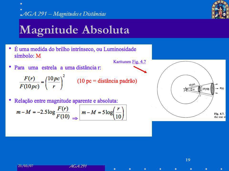 21/03/07 AGA 291 AGA 291 – Magnitudes e Distâncias 19 Magnitude Absoluta