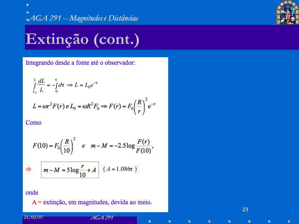 21/03/07 AGA 291 AGA 291 – Magnitudes e Distâncias 23 Extinção (cont.)