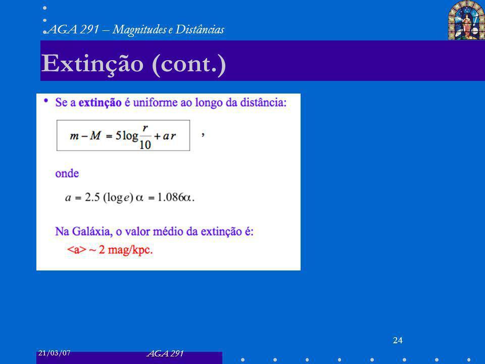 21/03/07 AGA 291 AGA 291 – Magnitudes e Distâncias 24 Extinção (cont.)