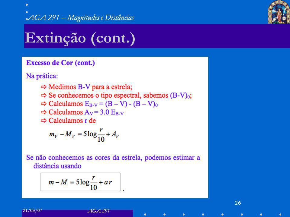 21/03/07 AGA 291 AGA 291 – Magnitudes e Distâncias 26 Extinção (cont.)