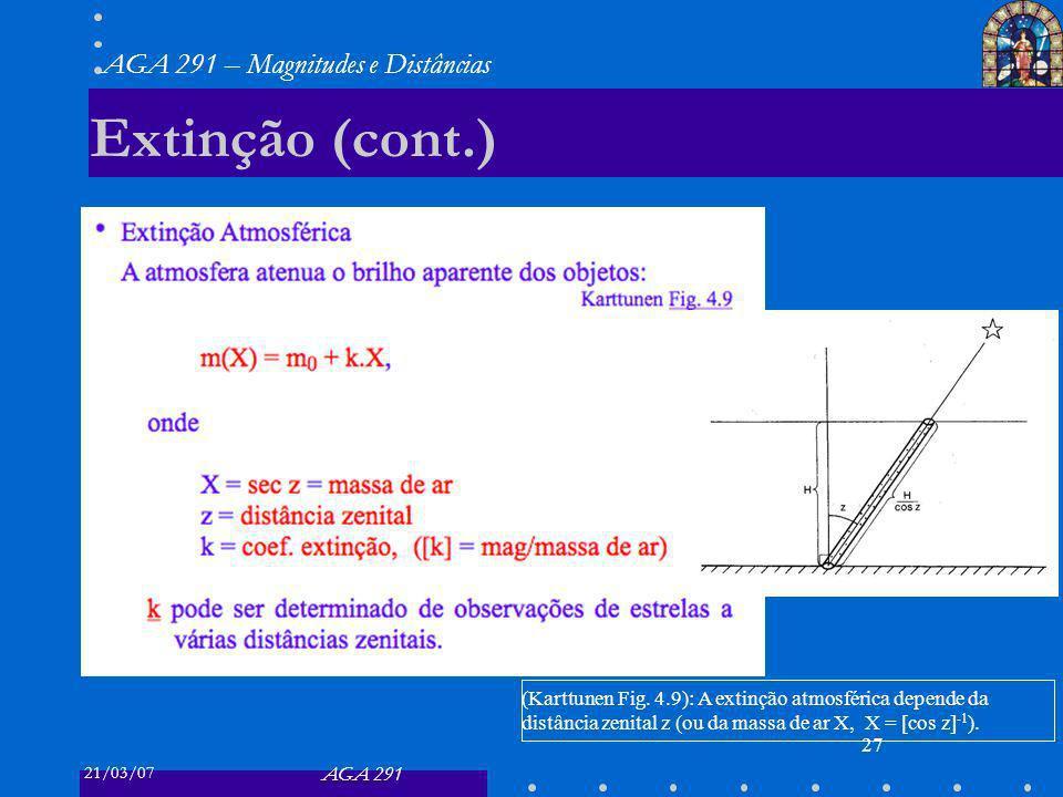 21/03/07 AGA 291 AGA 291 – Magnitudes e Distâncias 27 Extinção (cont.) (Karttunen Fig.