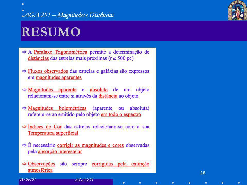 21/03/07 AGA 291 AGA 291 – Magnitudes e Distâncias 28 RESUMO