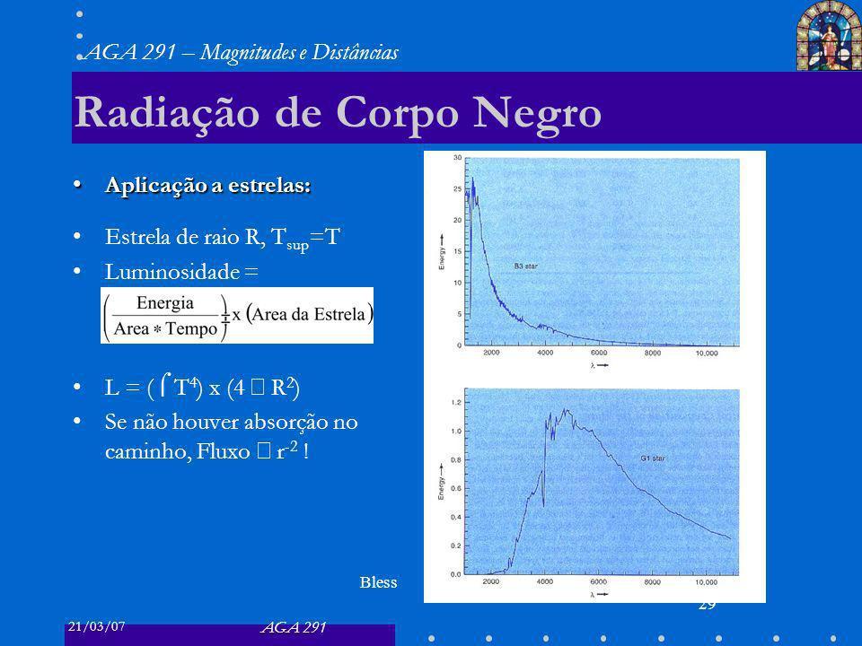 21/03/07 AGA 291 AGA 291 – Magnitudes e Distâncias 29 Radiação de Corpo Negro Aplicação a estrelas:Aplicação a estrelas: Estrela de raio R, T sup =T Luminosidade = L = ( T 4 ) x (4 R 2 ) Se não houver absorção no caminho, Fluxo r -2 .