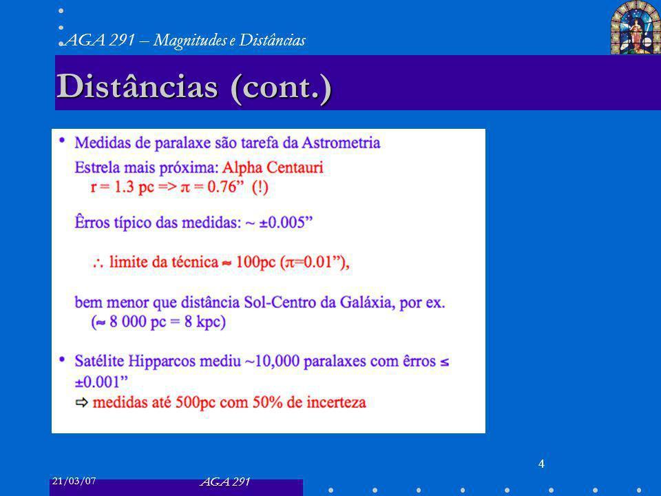 21/03/07 AGA 291 AGA 291 – Magnitudes e Distâncias 4 Distâncias (cont.)
