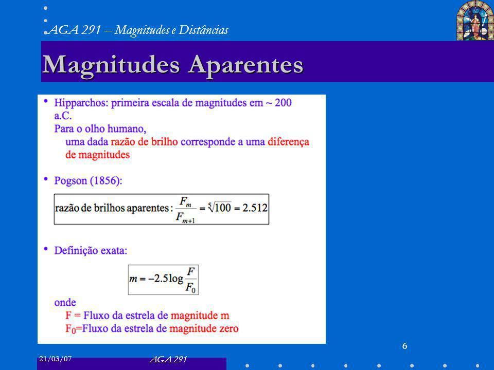21/03/07 AGA 291 AGA 291 – Magnitudes e Distâncias 6 Magnitudes Aparentes