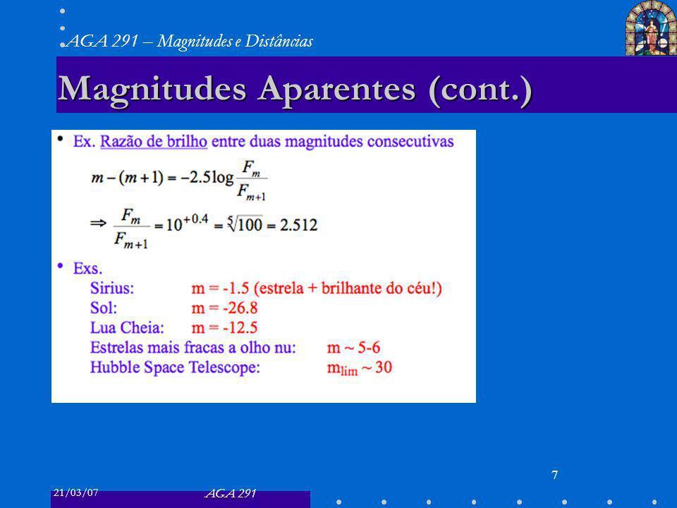21/03/07 AGA 291 AGA 291 – Magnitudes e Distâncias 7 Magnitudes Aparentes (cont.)