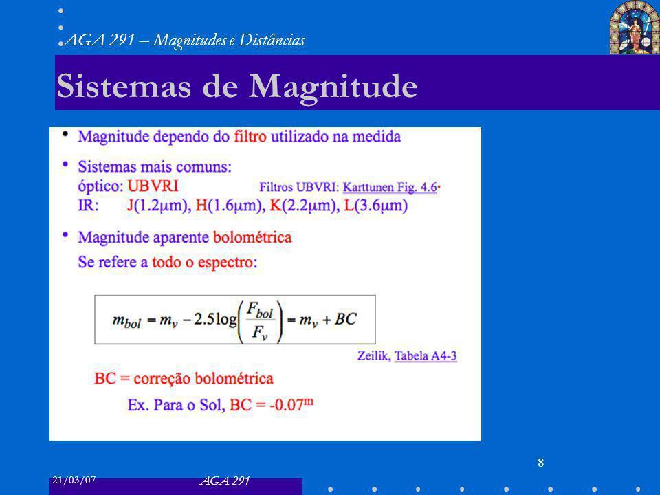 21/03/07 AGA 291 AGA 291 – Magnitudes e Distâncias 8 Sistemas de Magnitude