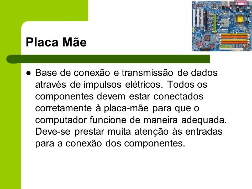 Placa Mãe Base de conexão e transmissão de dados através de impulsos elétricos.