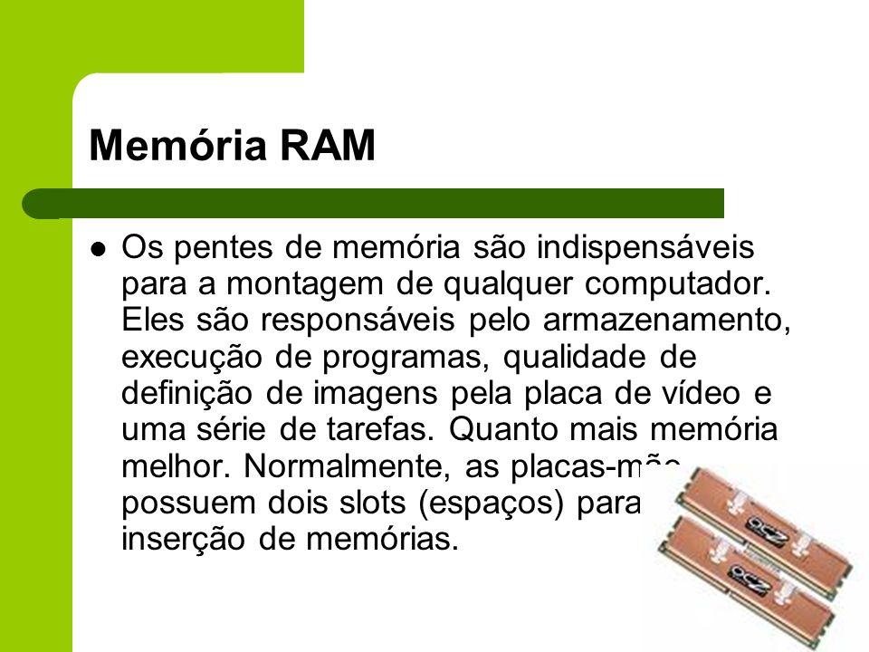 Memória RAM Os pentes de memória são indispensáveis para a montagem de qualquer computador.