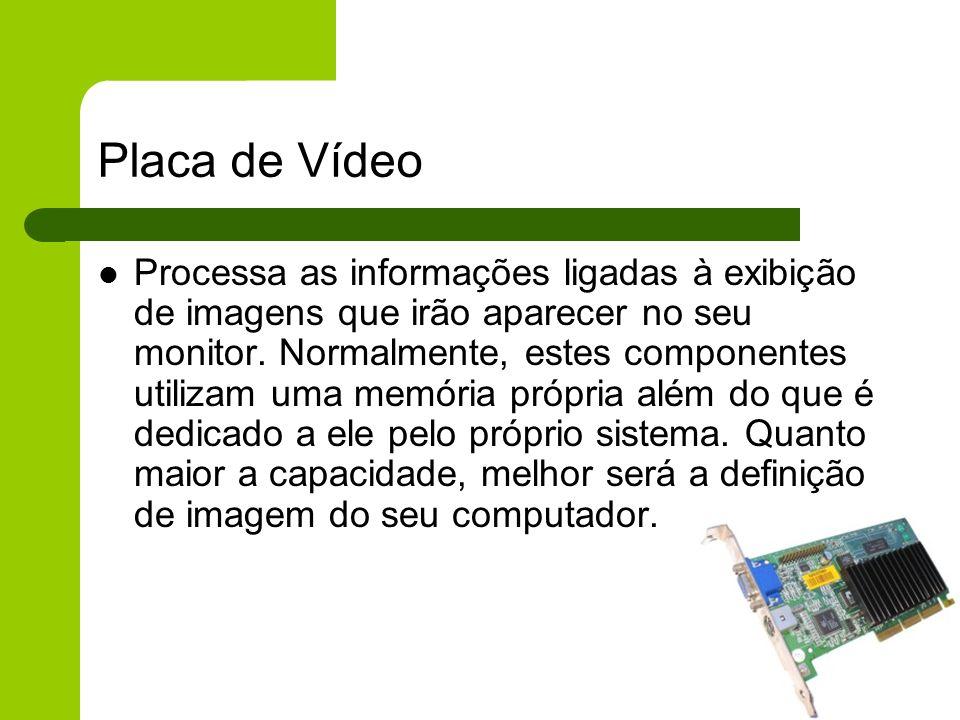 Placa de Vídeo Processa as informações ligadas à exibição de imagens que irão aparecer no seu monitor.