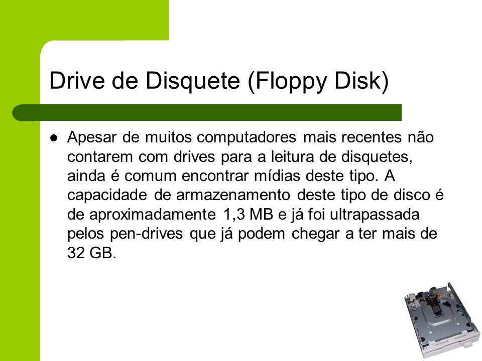 Drive de Disquete (Floppy Disk) Apesar de muitos computadores mais recentes não contarem com drives para a leitura de disquetes, ainda é comum encontrar mídias deste tipo.