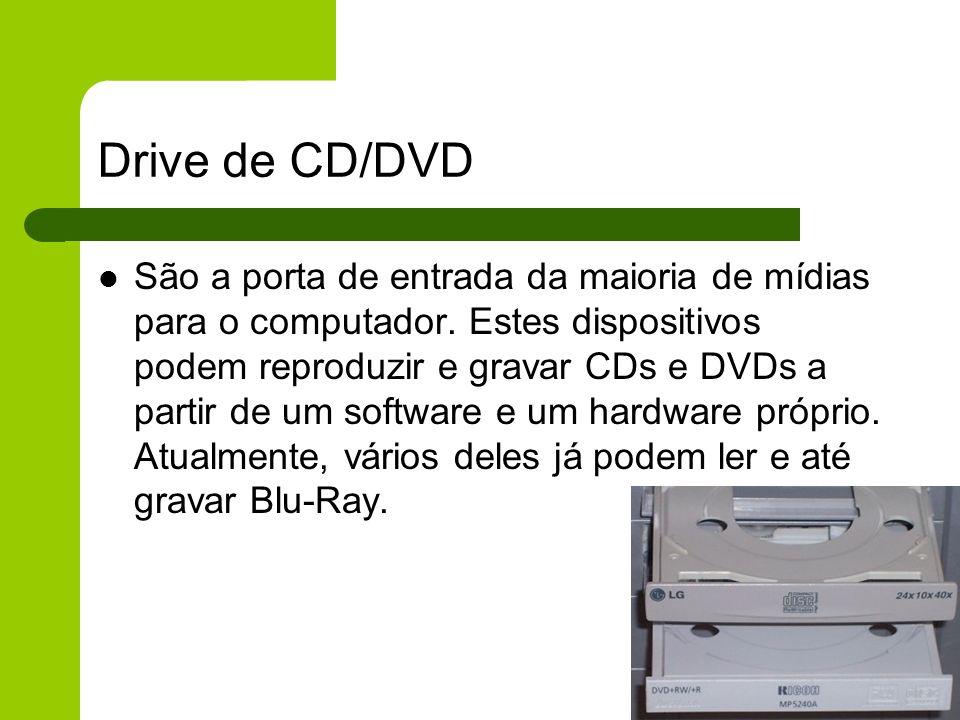 Drive de CD/DVD São a porta de entrada da maioria de mídias para o computador.