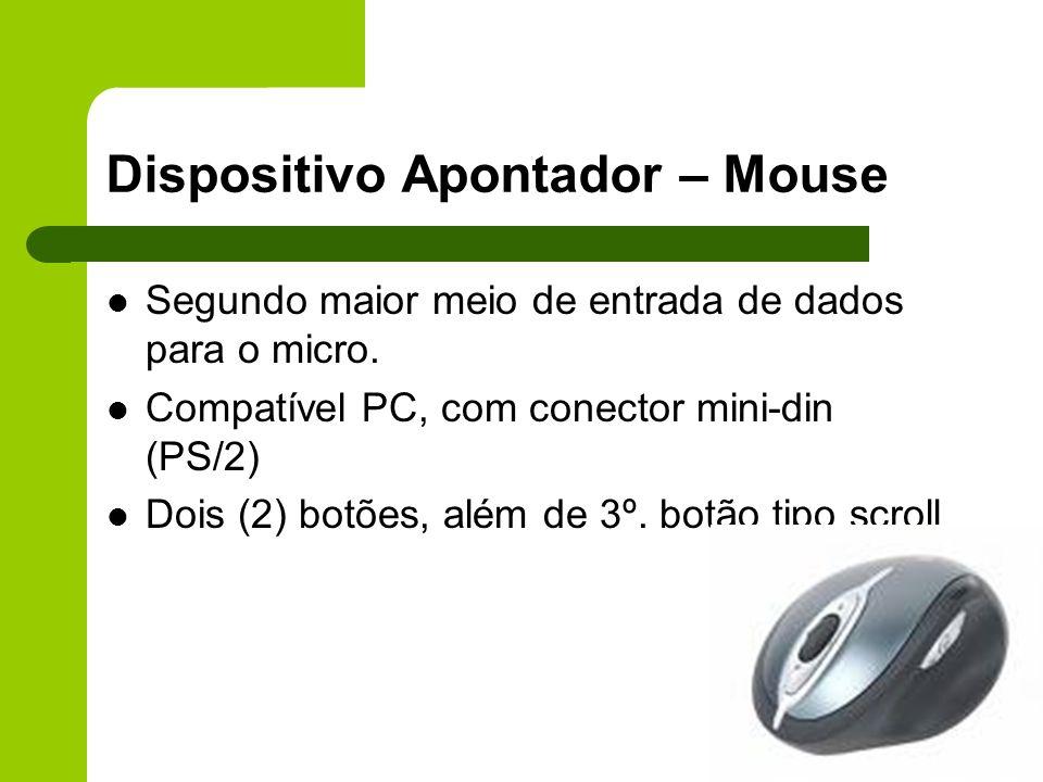 Dispositivo Apontador – Mouse Segundo maior meio de entrada de dados para o micro.