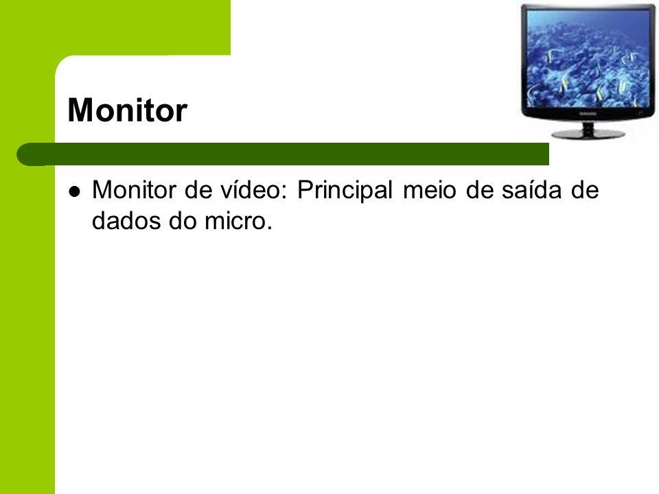 Monitor Monitor de vídeo: Principal meio de saída de dados do micro.