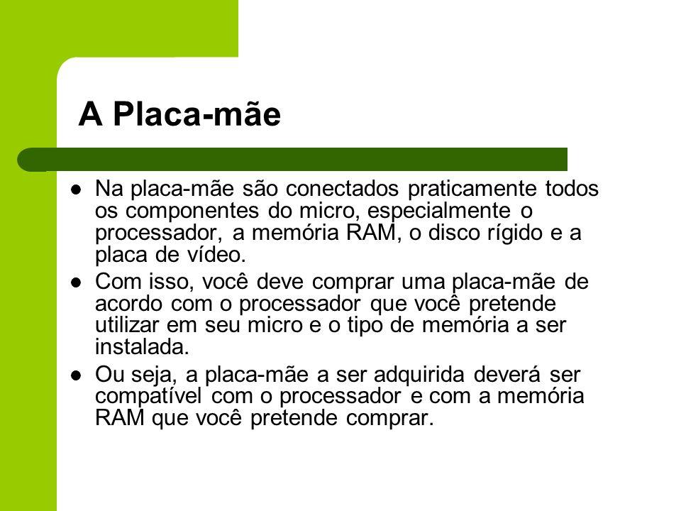 A Placa-mãe Na placa-mãe são conectados praticamente todos os componentes do micro, especialmente o processador, a memória RAM, o disco rígido e a placa de vídeo.