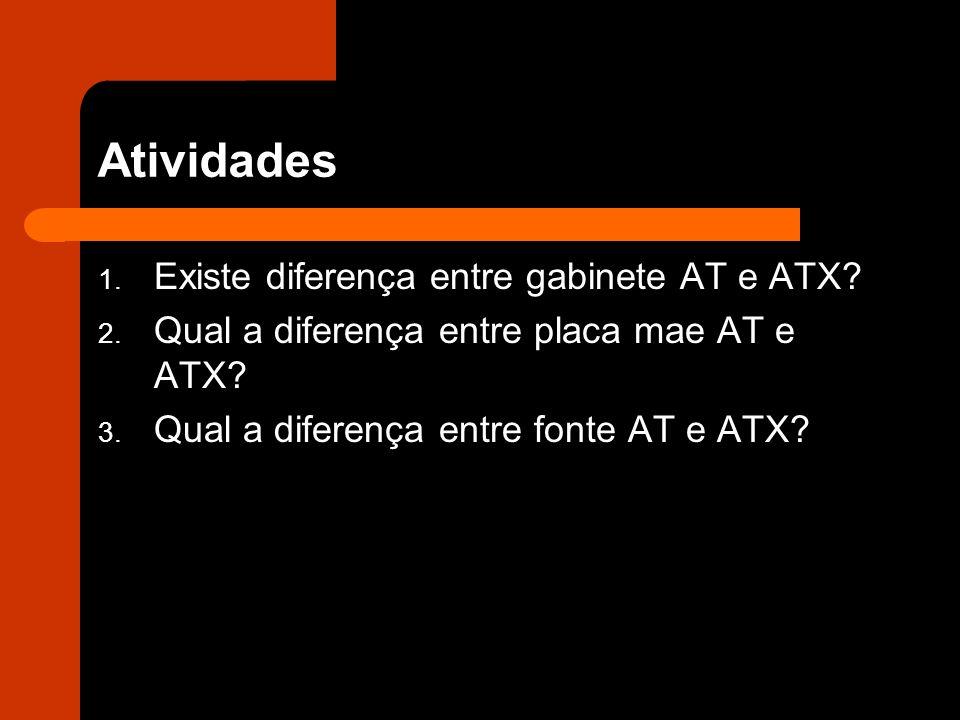 Atividades 1.Existe diferença entre gabinete AT e ATX.