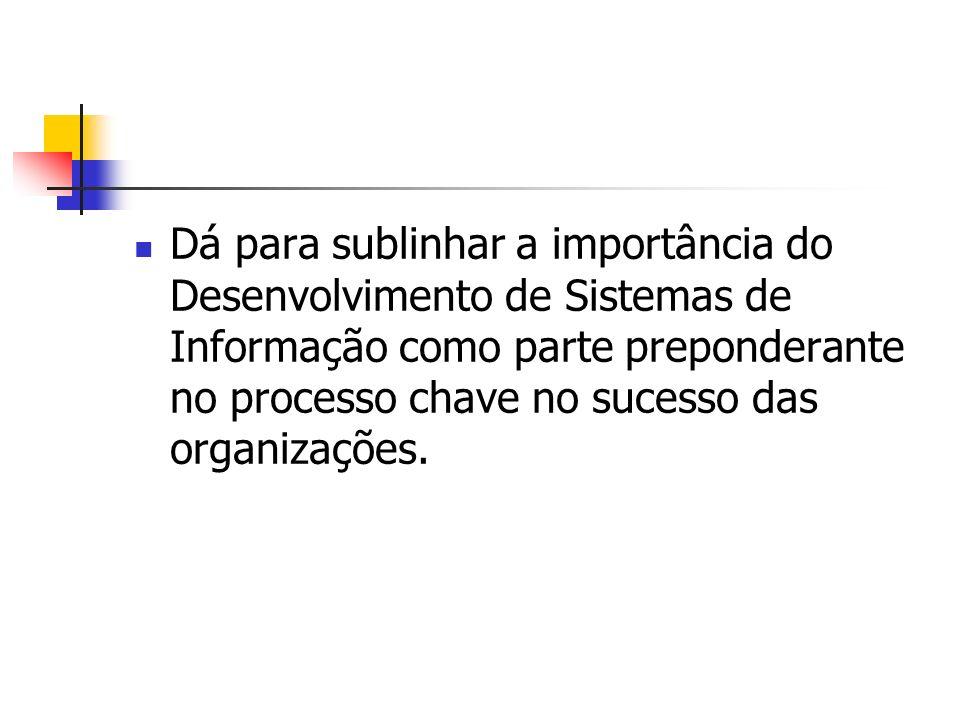 Dá para sublinhar a importância do Desenvolvimento de Sistemas de Informação como parte preponderante no processo chave no sucesso das organizações.