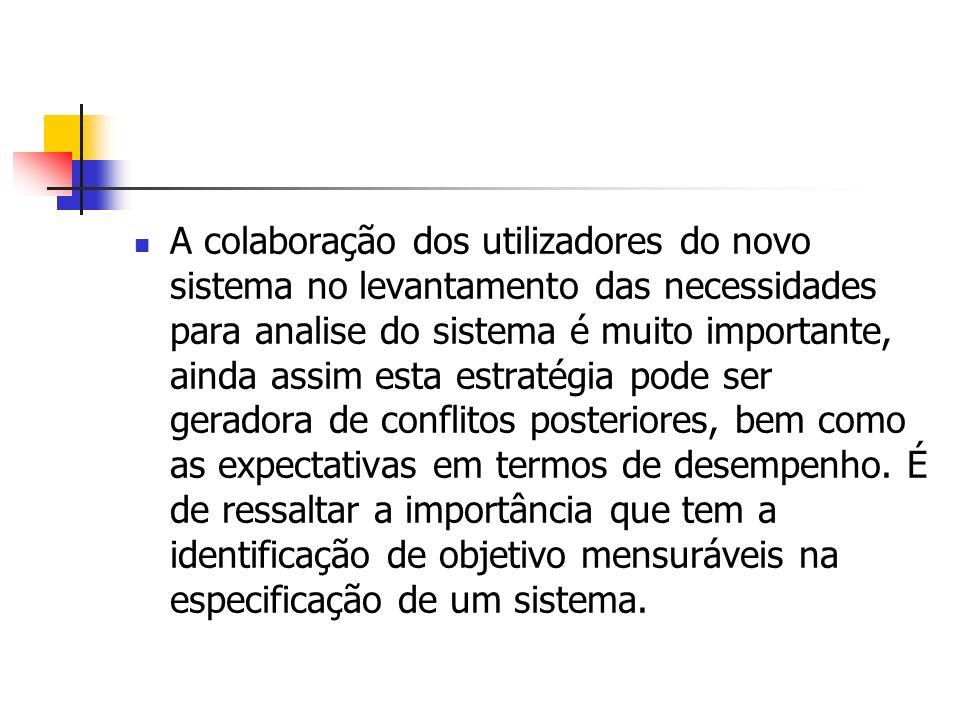 A colaboração dos utilizadores do novo sistema no levantamento das necessidades para analise do sistema é muito importante, ainda assim esta estratégi
