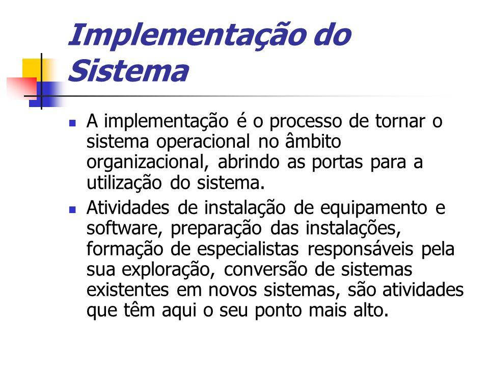 Implementação do Sistema A implementação é o processo de tornar o sistema operacional no âmbito organizacional, abrindo as portas para a utilização do