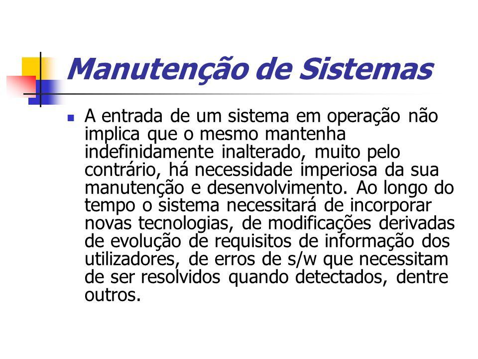Manutenção de Sistemas A entrada de um sistema em operação não implica que o mesmo mantenha indefinidamente inalterado, muito pelo contrário, há neces