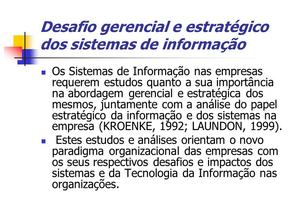 Desafio gerencial e estratégico dos sistemas de informação Os Sistemas de Informação nas empresas requerem estudos quanto a sua importância na abordag