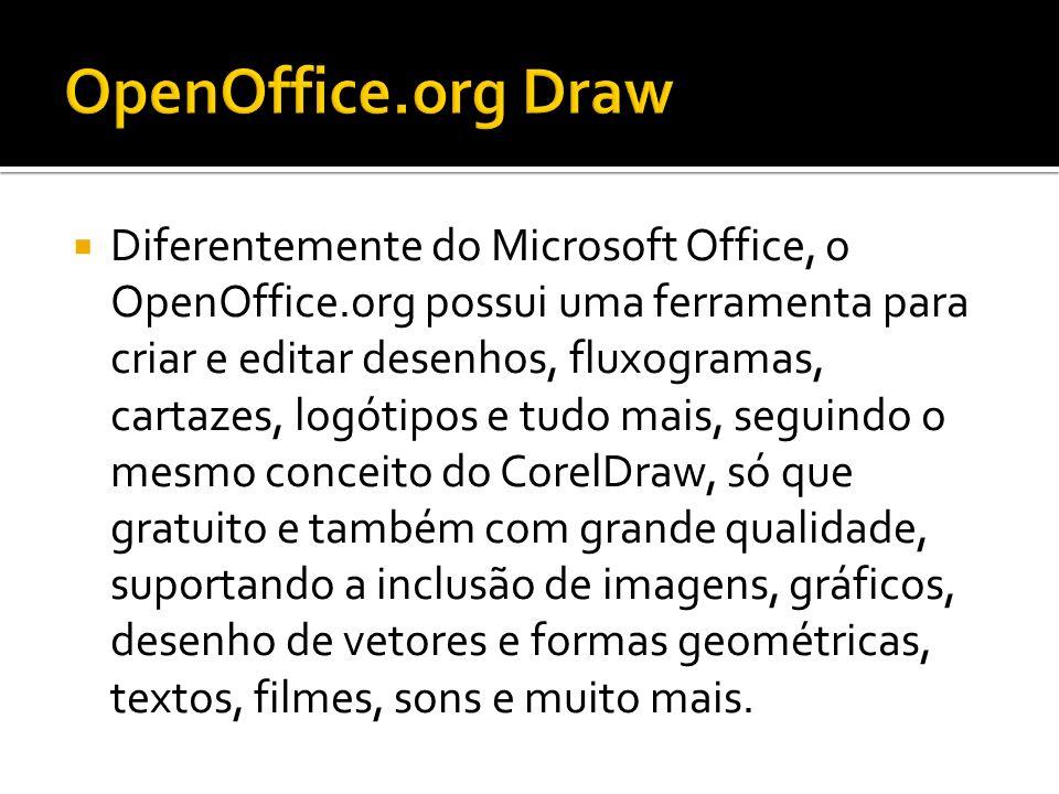Diferentemente do Microsoft Office, o OpenOffice.org possui uma ferramenta para criar e editar desenhos, fluxogramas, cartazes, logótipos e tudo mais,