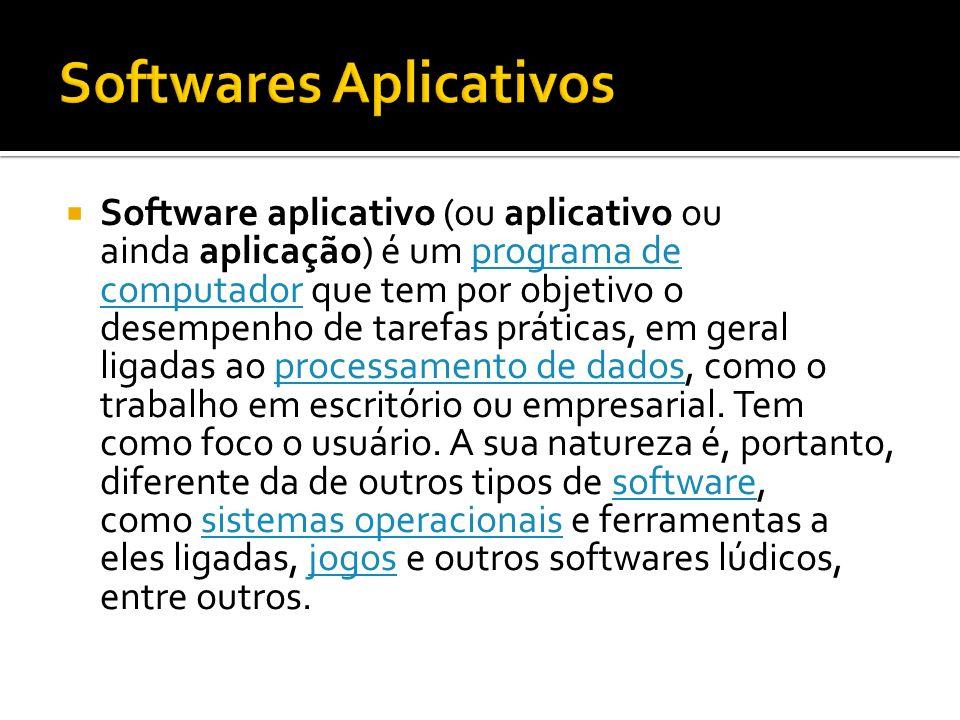Software aplicativo (ou aplicativo ou ainda aplicação) é um programa de computador que tem por objetivo o desempenho de tarefas práticas, em geral lig