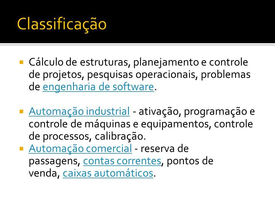 Cálculo de estruturas, planejamento e controle de projetos, pesquisas operacionais, problemas de engenharia de software.engenharia de software Automaç