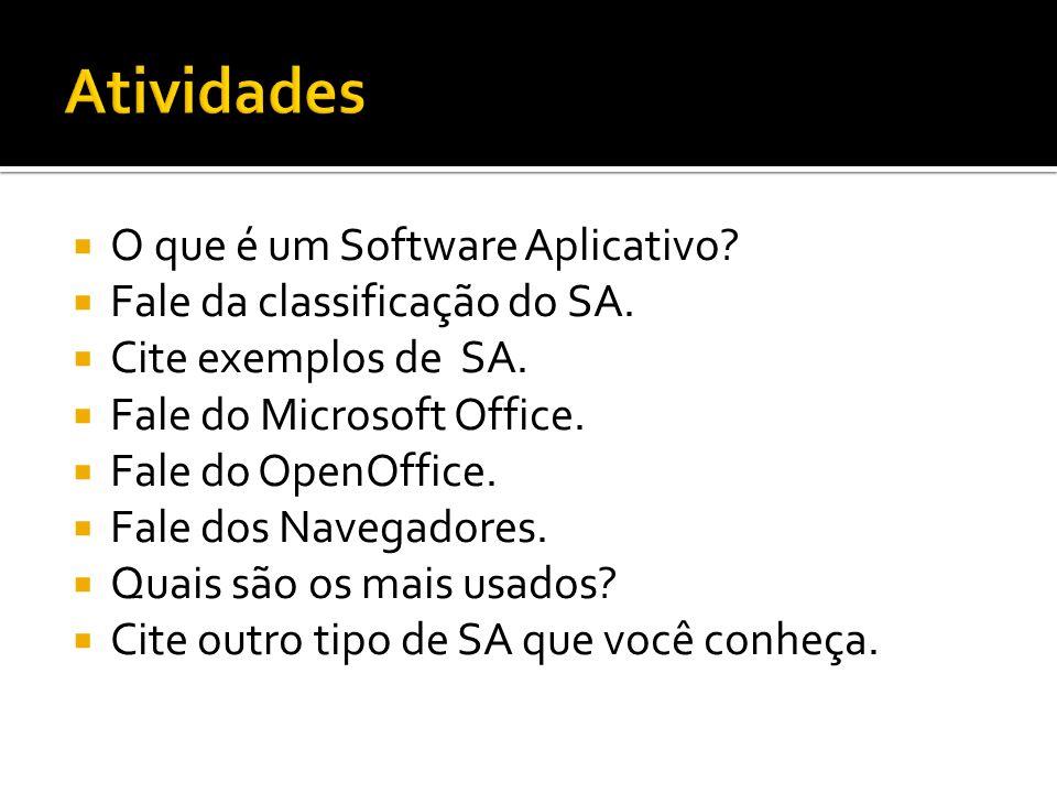 O que é um Software Aplicativo? Fale da classificação do SA. Cite exemplos de SA. Fale do Microsoft Office. Fale do OpenOffice. Fale dos Navegadores.