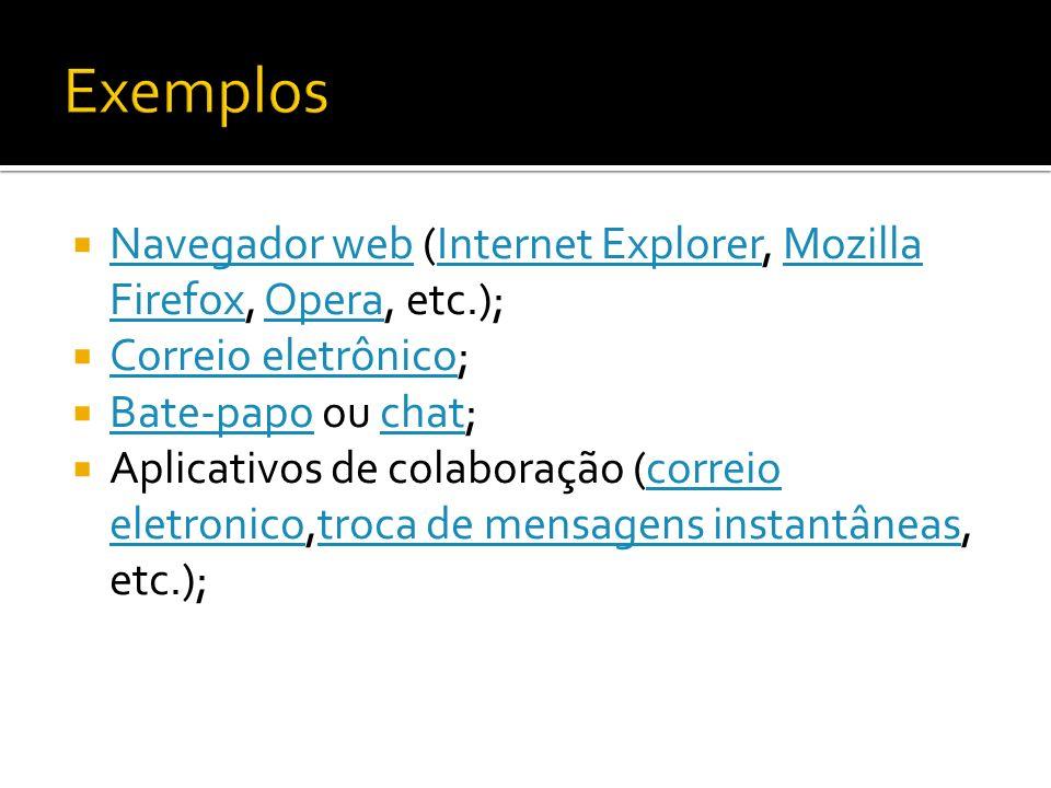 Navegador web (Internet Explorer, Mozilla Firefox, Opera, etc.); Navegador webInternet ExplorerMozilla FirefoxOpera Correio eletrônico; Correio eletrô