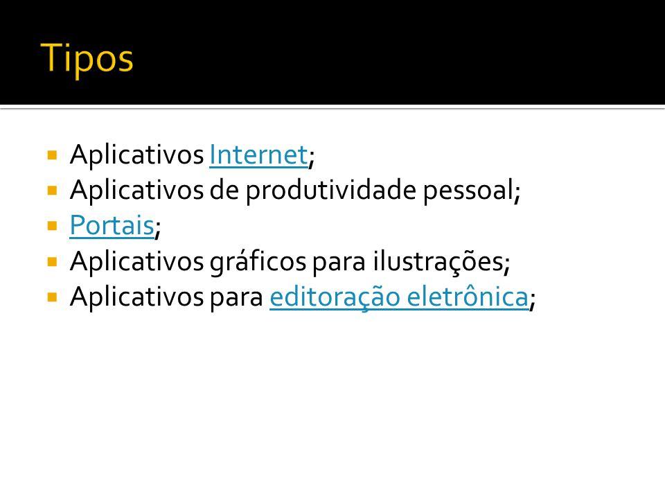 Aplicativos Internet;Internet Aplicativos de produtividade pessoal; Portais; Portais Aplicativos gráficos para ilustrações; Aplicativos para editoraçã