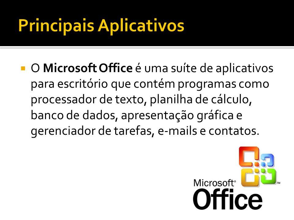 O Microsoft Office é uma suíte de aplicativos para escritório que contém programas como processador de texto, planilha de cálculo, banco de dados, apr