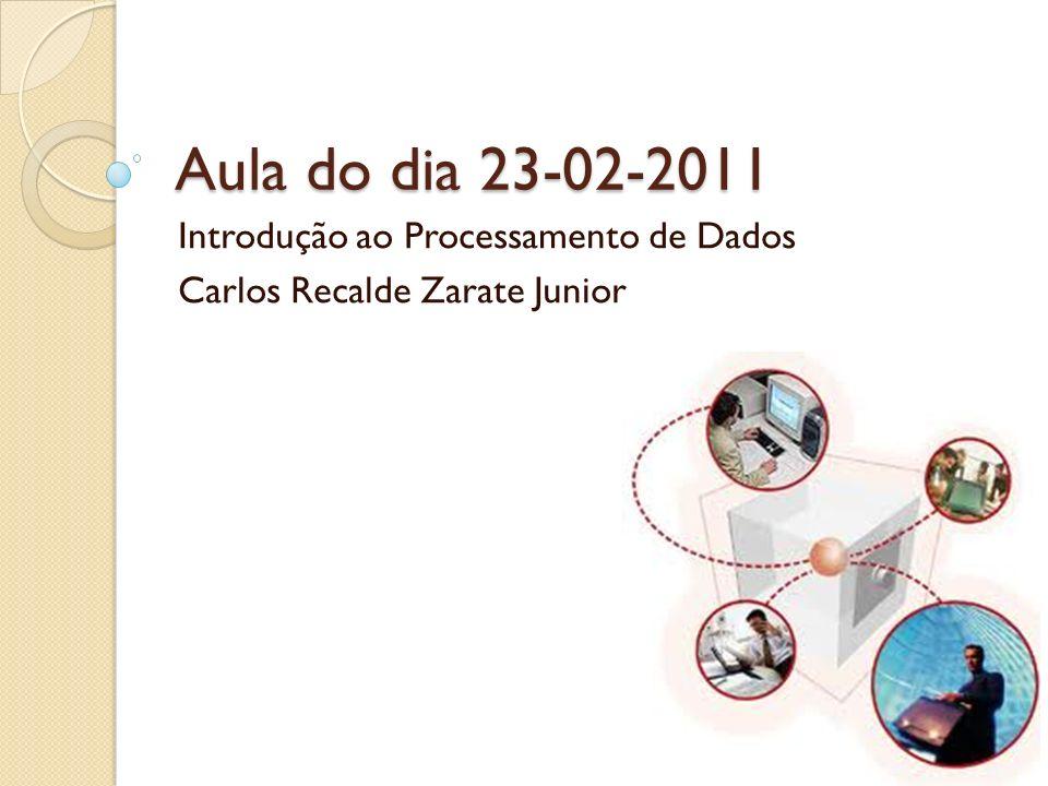 Aula do dia 23-02-2011 Introdução ao Processamento de Dados Carlos Recalde Zarate Junior