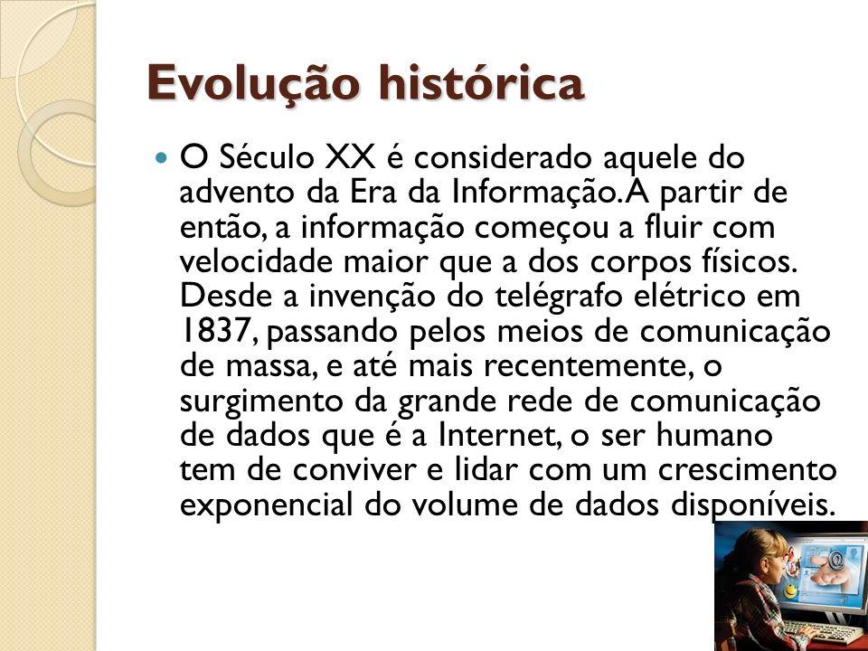 Evolução histórica O Século XX é considerado aquele do advento da Era da Informação. A partir de então, a informação começou a fluir com velocidade ma