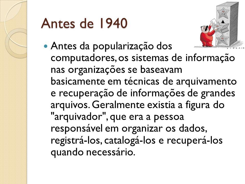 Antes de 1940 Antes da popularização dos computadores, os sistemas de informação nas organizações se baseavam basicamente em técnicas de arquivamento