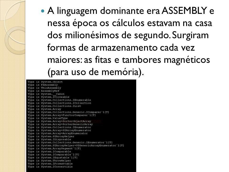 A linguagem dominante era ASSEMBLY e nessa época os cálculos estavam na casa dos milionésimos de segundo. Surgiram formas de armazenamento cada vez ma