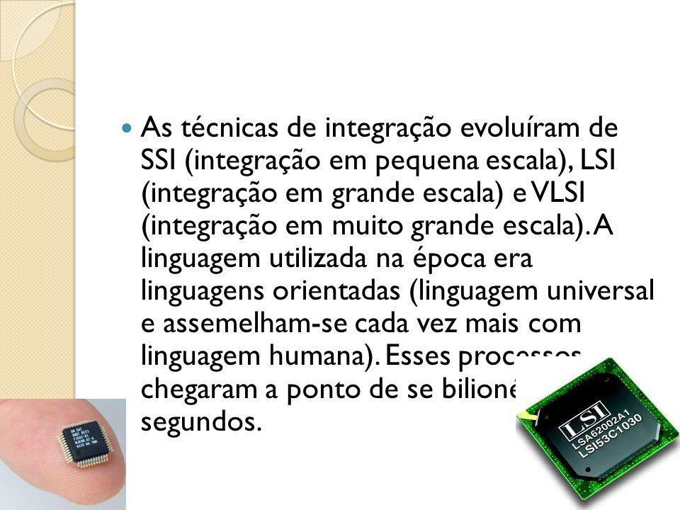 As técnicas de integração evoluíram de SSI (integração em pequena escala), LSI (integração em grande escala) e VLSI (integração em muito grande escala