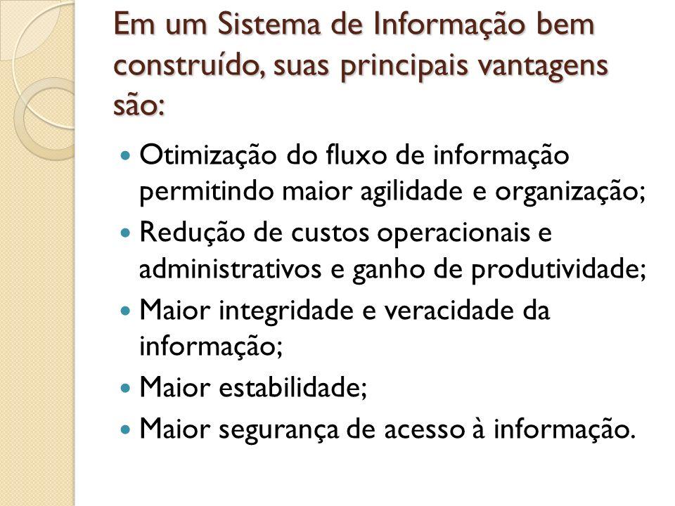 Em um Sistema de Informação bem construído, suas principais vantagens são: Otimização do fluxo de informação permitindo maior agilidade e organização;