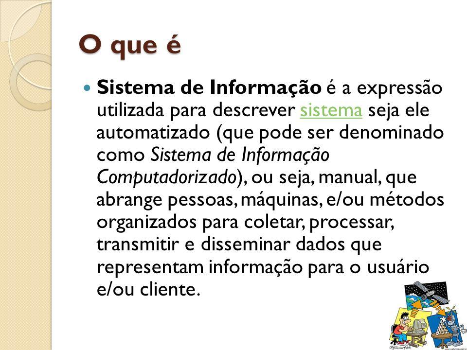 O que é Sistema de Informação é a expressão utilizada para descrever sistema seja ele automatizado (que pode ser denominado como Sistema de Informação