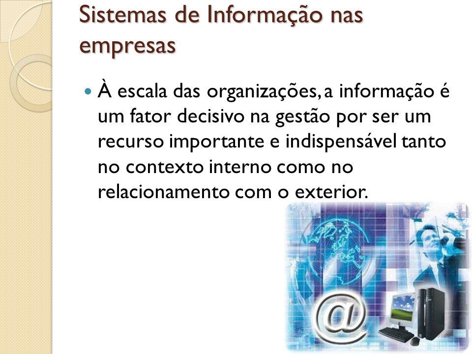 Sistemas de Informação nas empresas À escala das organizações, a informação é um fator decisivo na gestão por ser um recurso importante e indispensáve