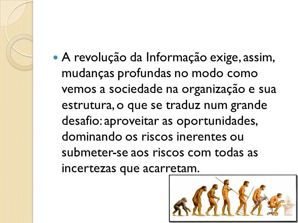A revolução da Informação exige, assim, mudanças profundas no modo como vemos a sociedade na organização e sua estrutura, o que se traduz num grande d