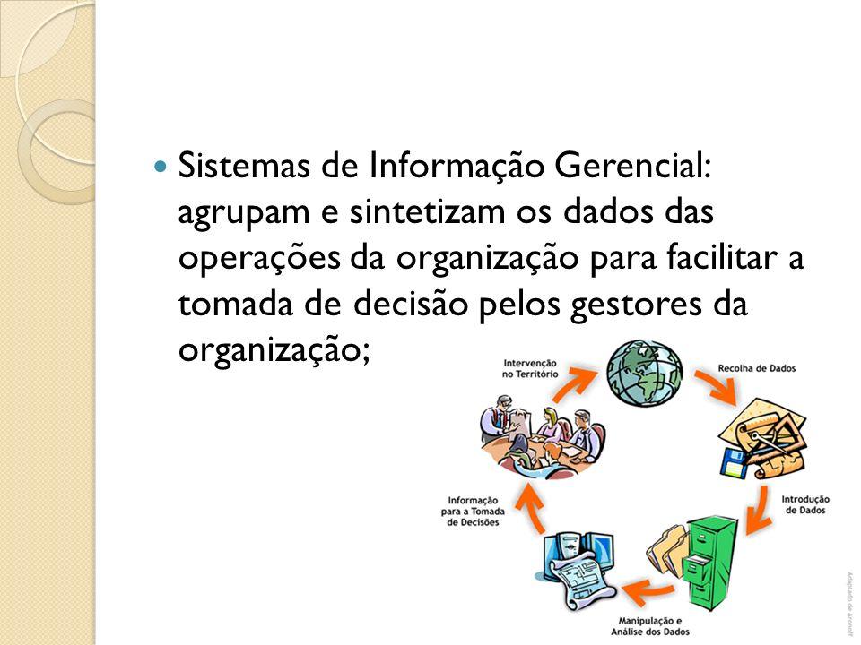 Sistemas de Informação Gerencial: agrupam e sintetizam os dados das operações da organização para facilitar a tomada de decisão pelos gestores da orga