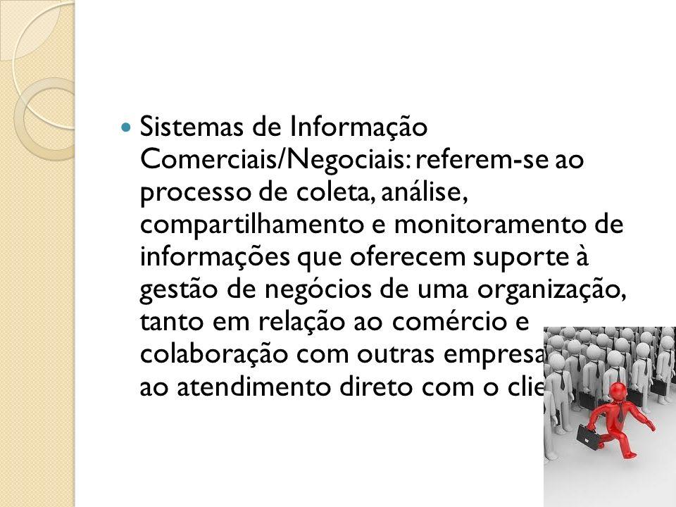 Sistemas de Informação Comerciais/Negociais: referem-se ao processo de coleta, análise, compartilhamento e monitoramento de informações que oferecem s