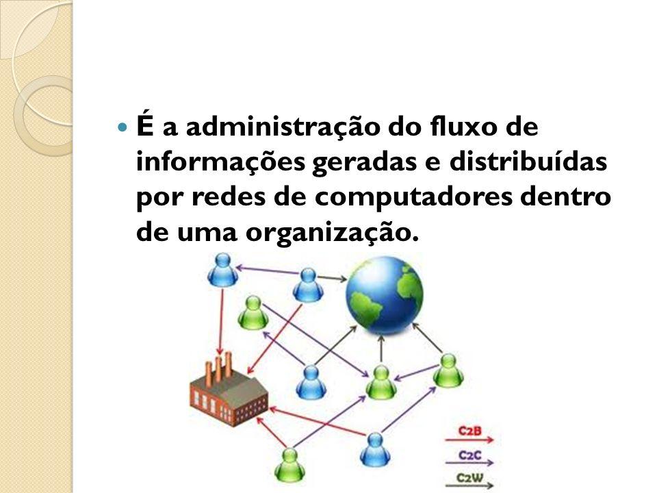É a administração do fluxo de informações geradas e distribuídas por redes de computadores dentro de uma organização.