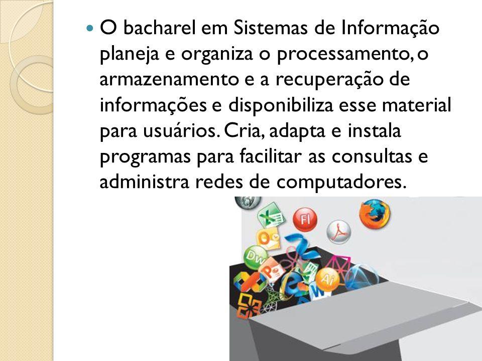 O bacharel em Sistemas de Informação planeja e organiza o processamento, o armazenamento e a recuperação de informações e disponibiliza esse material