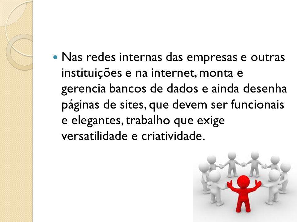 Nas redes internas das empresas e outras instituições e na internet, monta e gerencia bancos de dados e ainda desenha páginas de sites, que devem ser